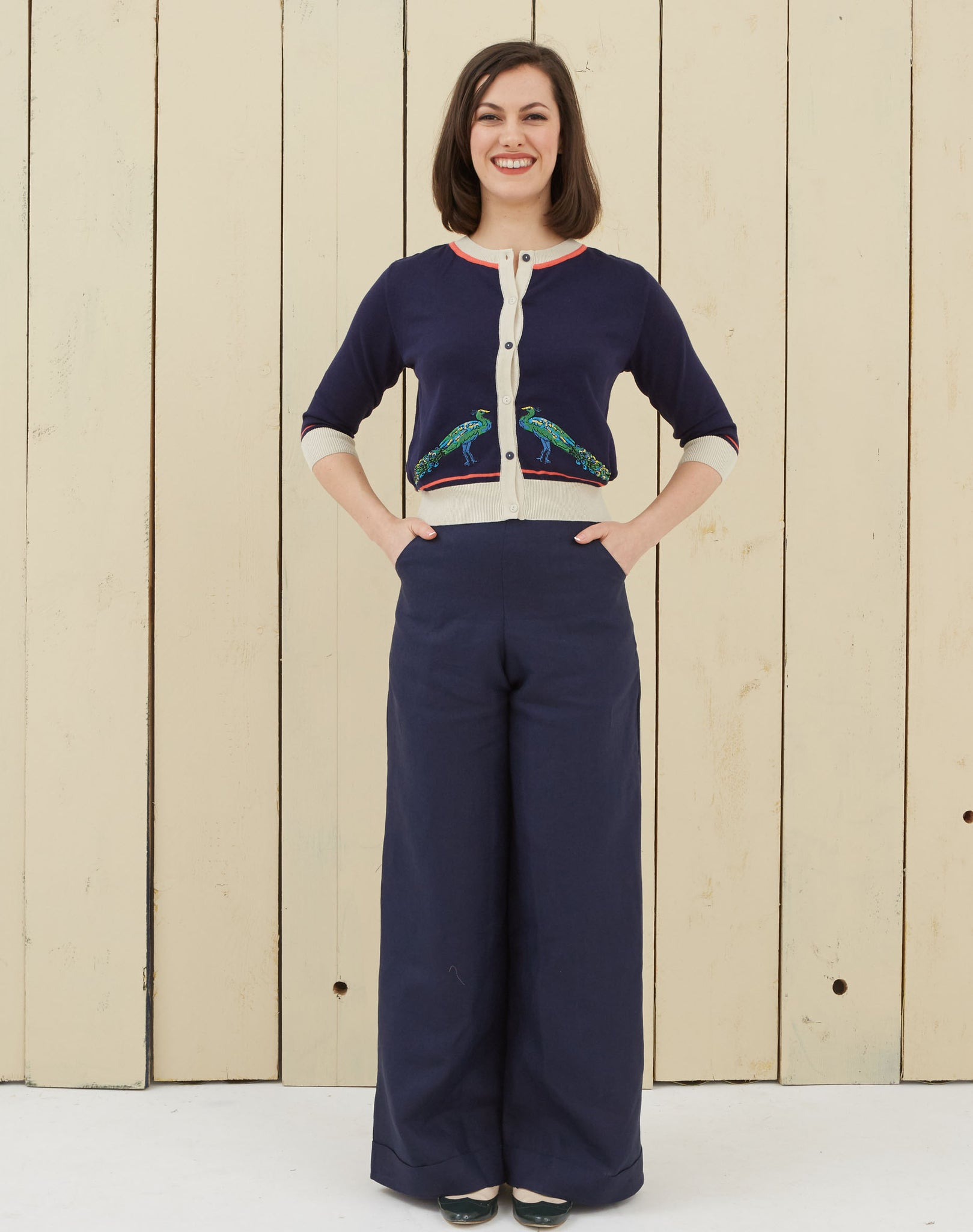 Navy Peacock Embroidered Vintage-style Cardigan | Organic Cotton