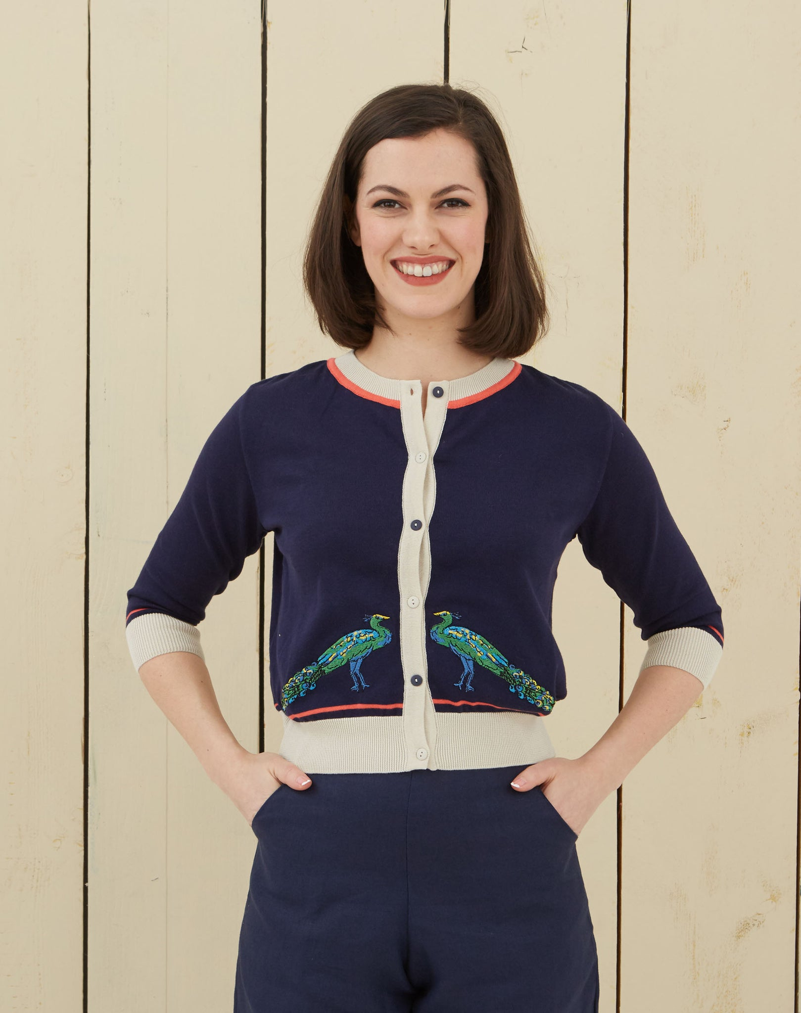 Women's Navy Peacock Embroidered Retro Cardigan | Organic Cotton