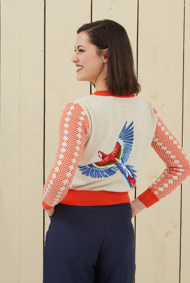 Organic Cotton Cardigan - Parrot Embroidery