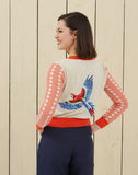 Organic Cotton Cardigan - Cream Large Parrot Embroidery