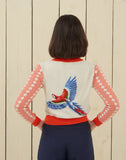 Macaw Embroidered Vintage-style Cardigan | Coral, Organic Cotton