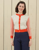 Parrot Embroidered Retro Summer Cardigan | Coral, Organic Cotton
