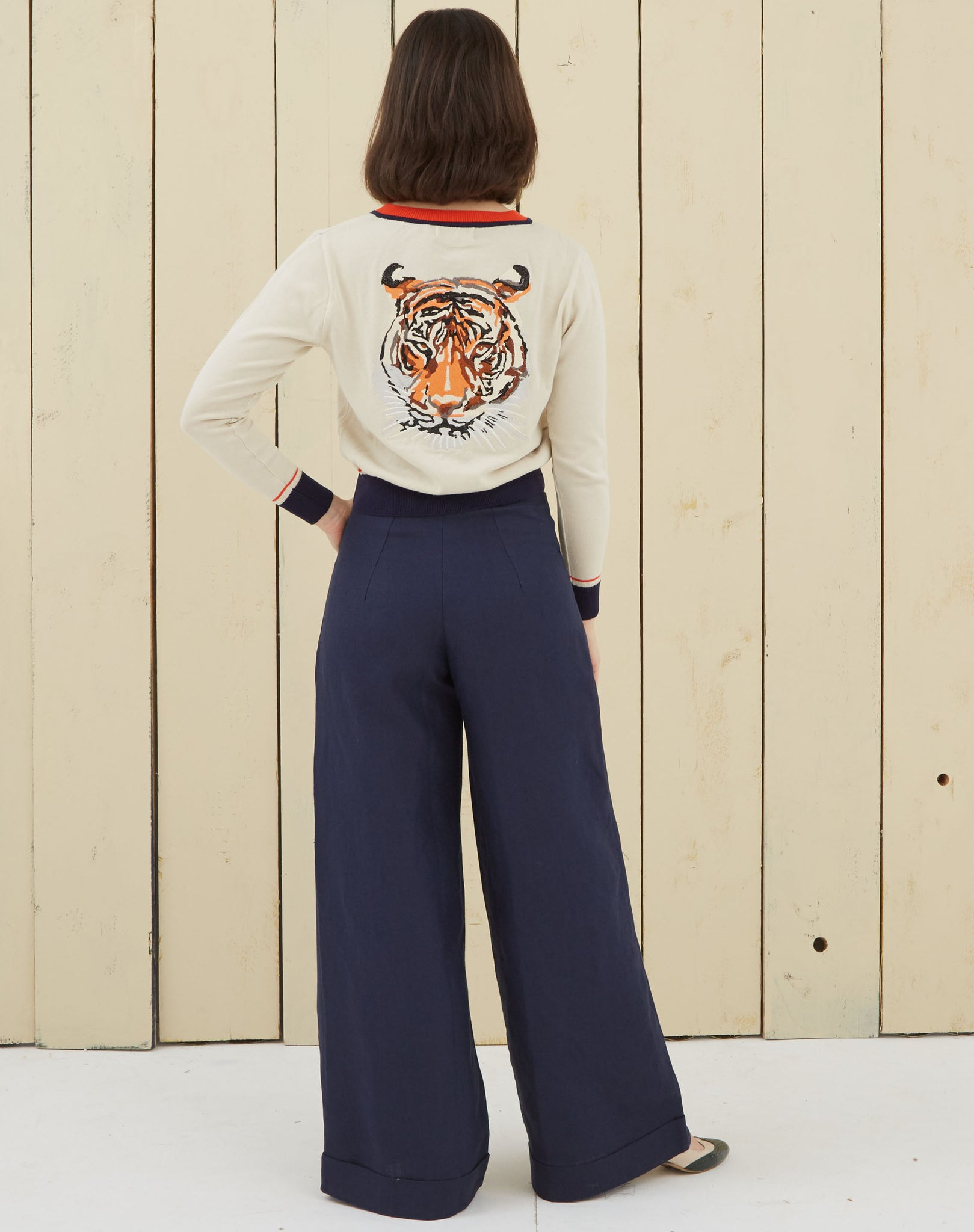 Women's Tiger Embroidered Summer Cardigan | Organic Cotton
