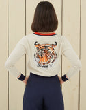 Tiger Embroidered Cardigan | Ecru Coral Navy Organic Cotton