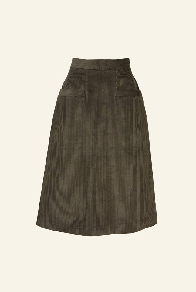 Cora - Green Corduroy Skirt