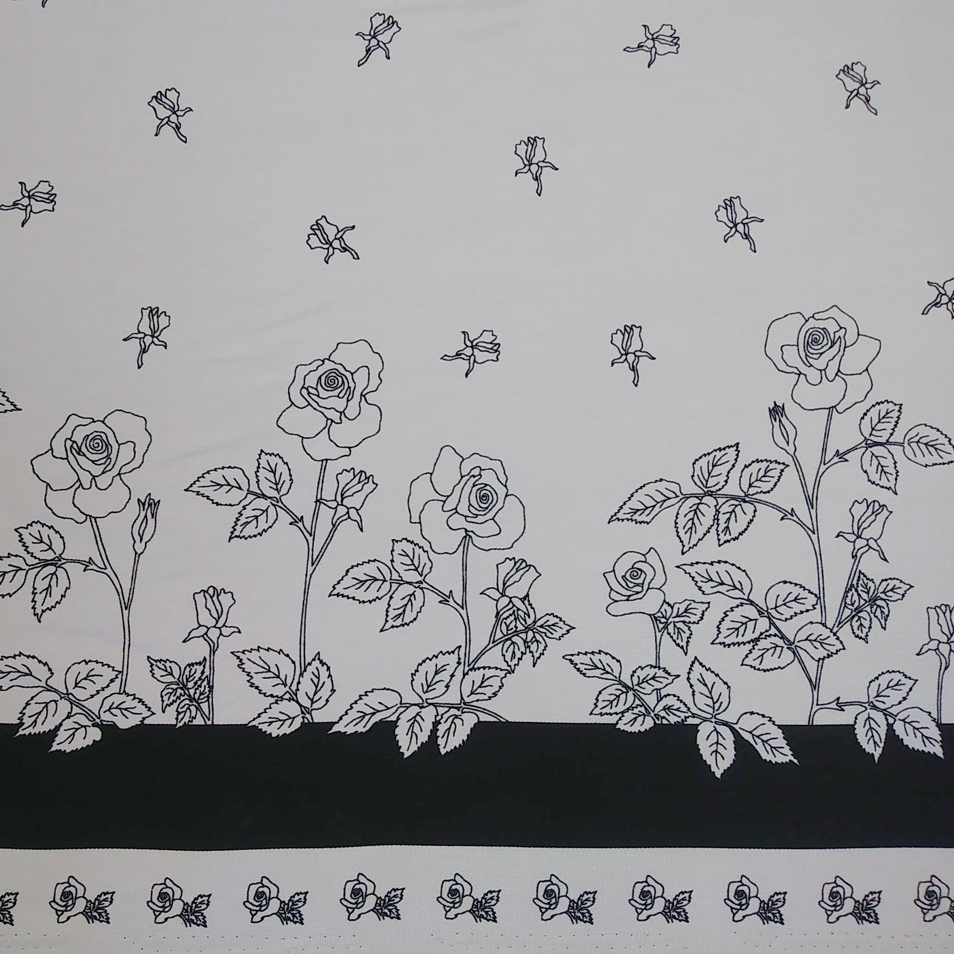 Black and White Roses Fabric - Cotton Twill