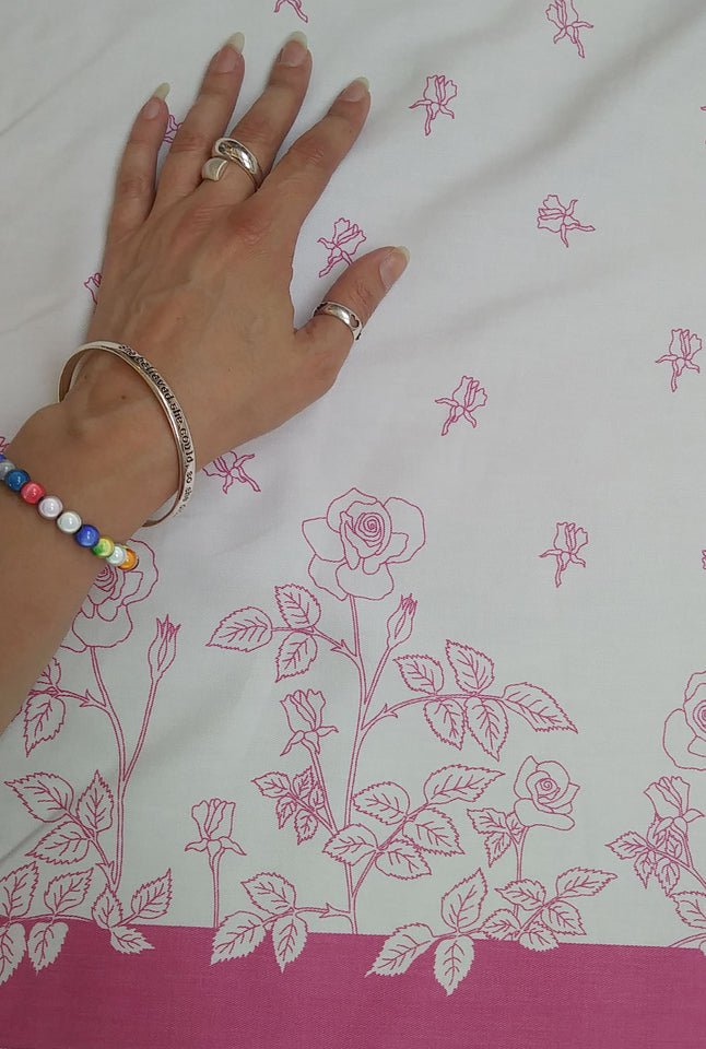 Pink and White Roses Fabric - Cotton Twill