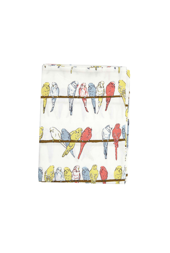 Single Pillowcase - Ivory Budgies - Palava