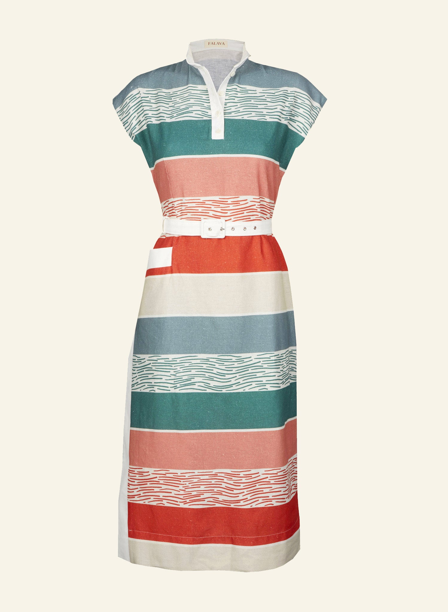 Palava Womens Cyd Dress in Summer Beach Stripe Cotton Linen Fabric