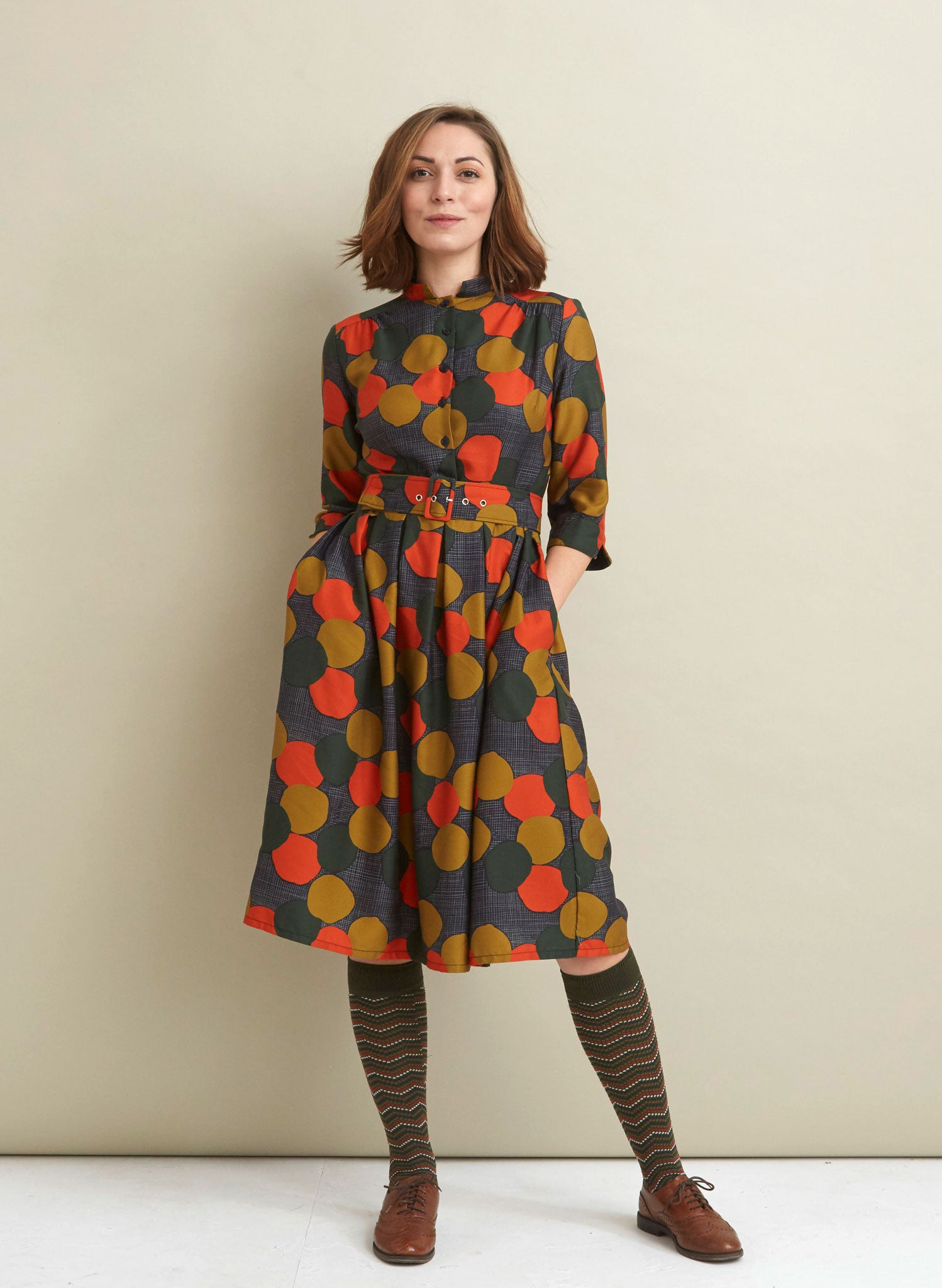 Cynthia - Charcoal Autumn Forest Dress - Tencel