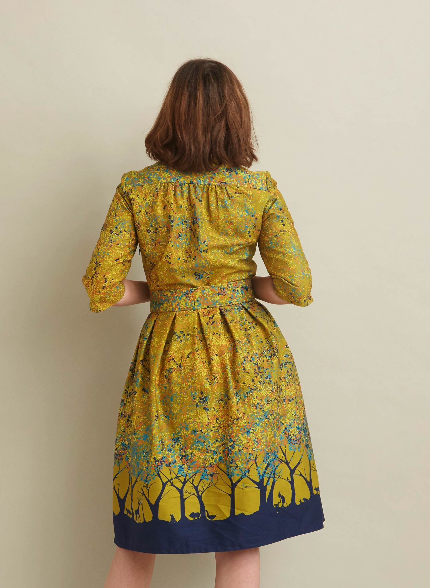Cynthia - Mustard Forest Dress - 100% Organic Cotton