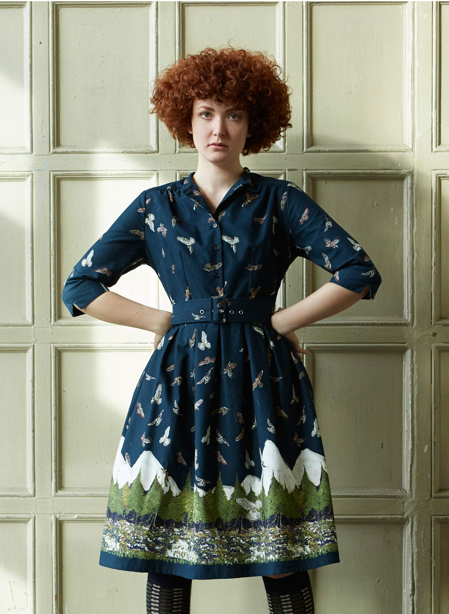 Cynthia - Navy Birds of Prey Dress - 100% Organic Cotton