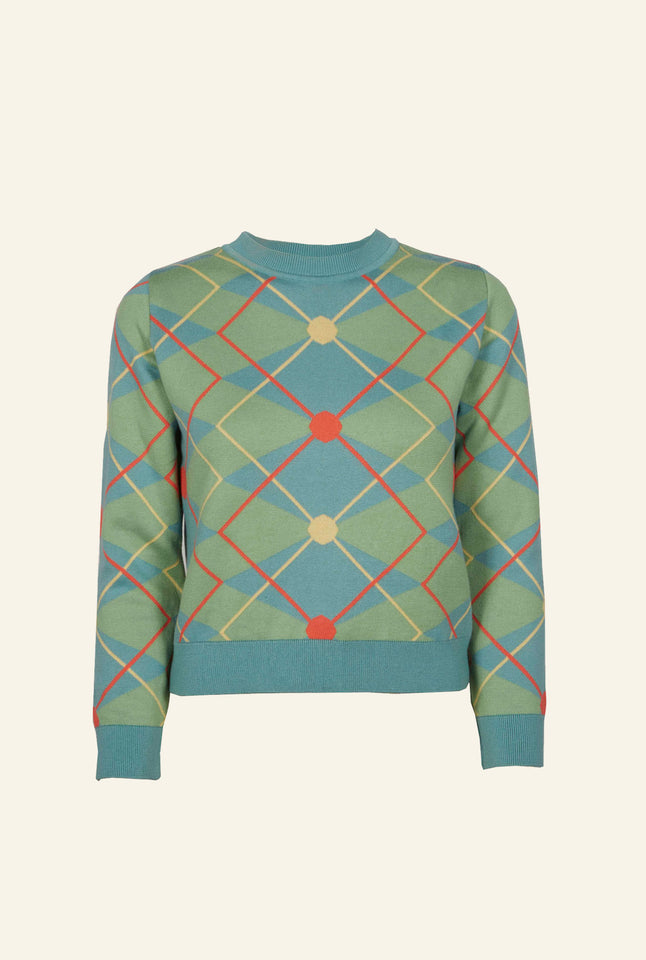 Esther - Green/Blue Argyle Jumper | Organic Cotton