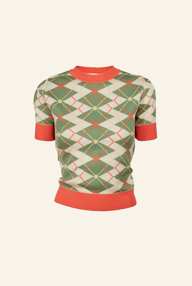 Eve - Green/Cream Argyle Knitted Top | Organic Cotton