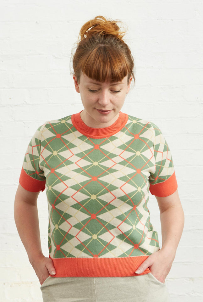 Palava Eve Knitted top  - Argyle Green Cream and Coral in Organic Cotton