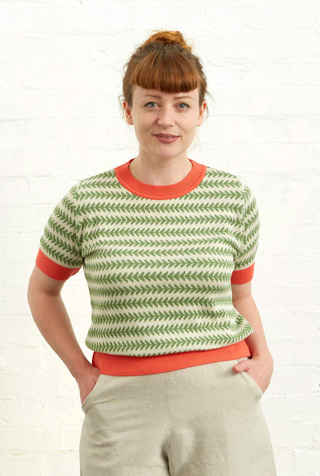 Eve - Pointelle Green Feather Stripe Knitted Top | Organic Cotton