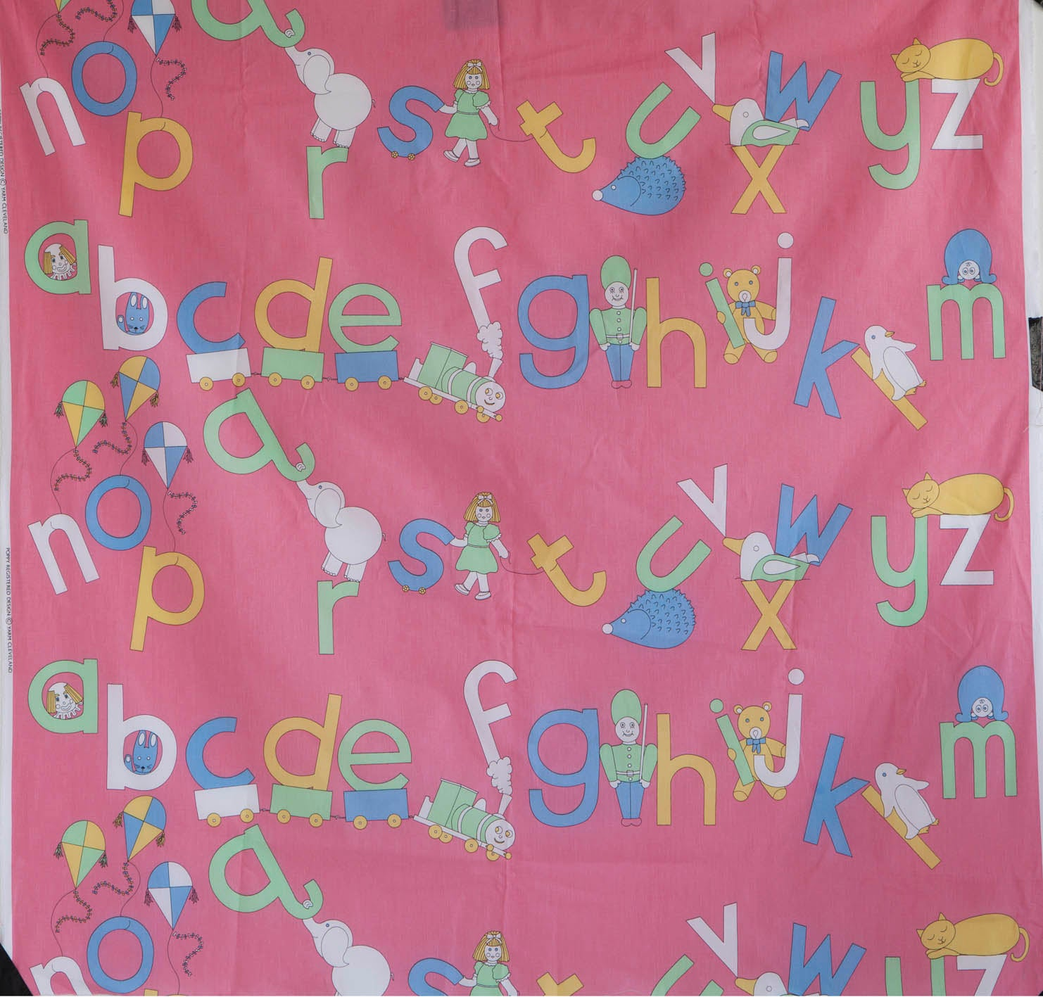 ABC Pink Pastel Print Fabric - Cotton