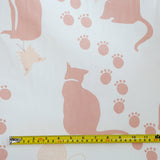 Ecru Large Cat Print Fabric - Cotton