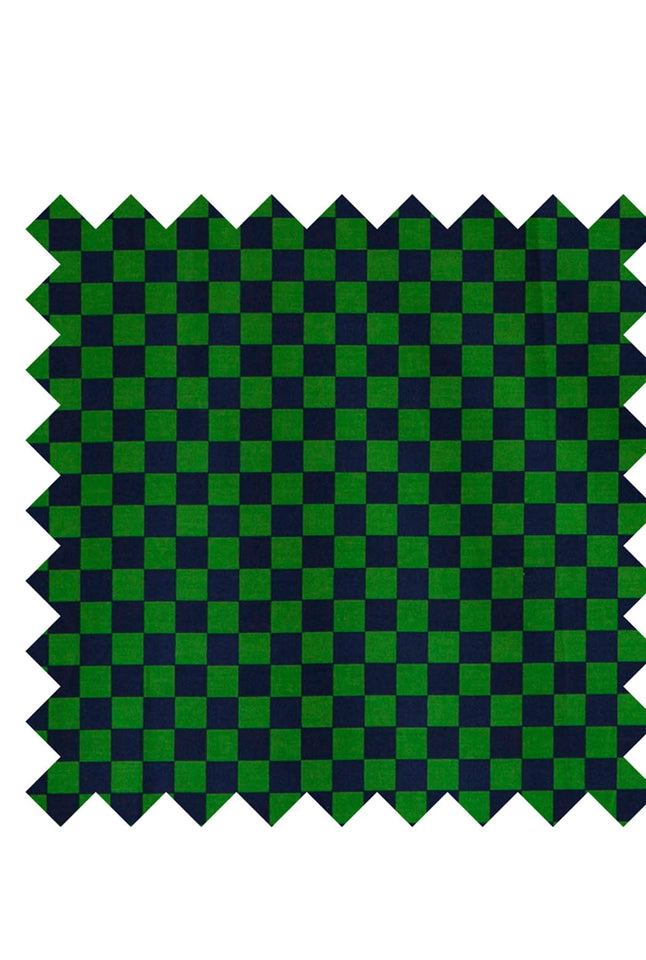 Green and navy check print fabric