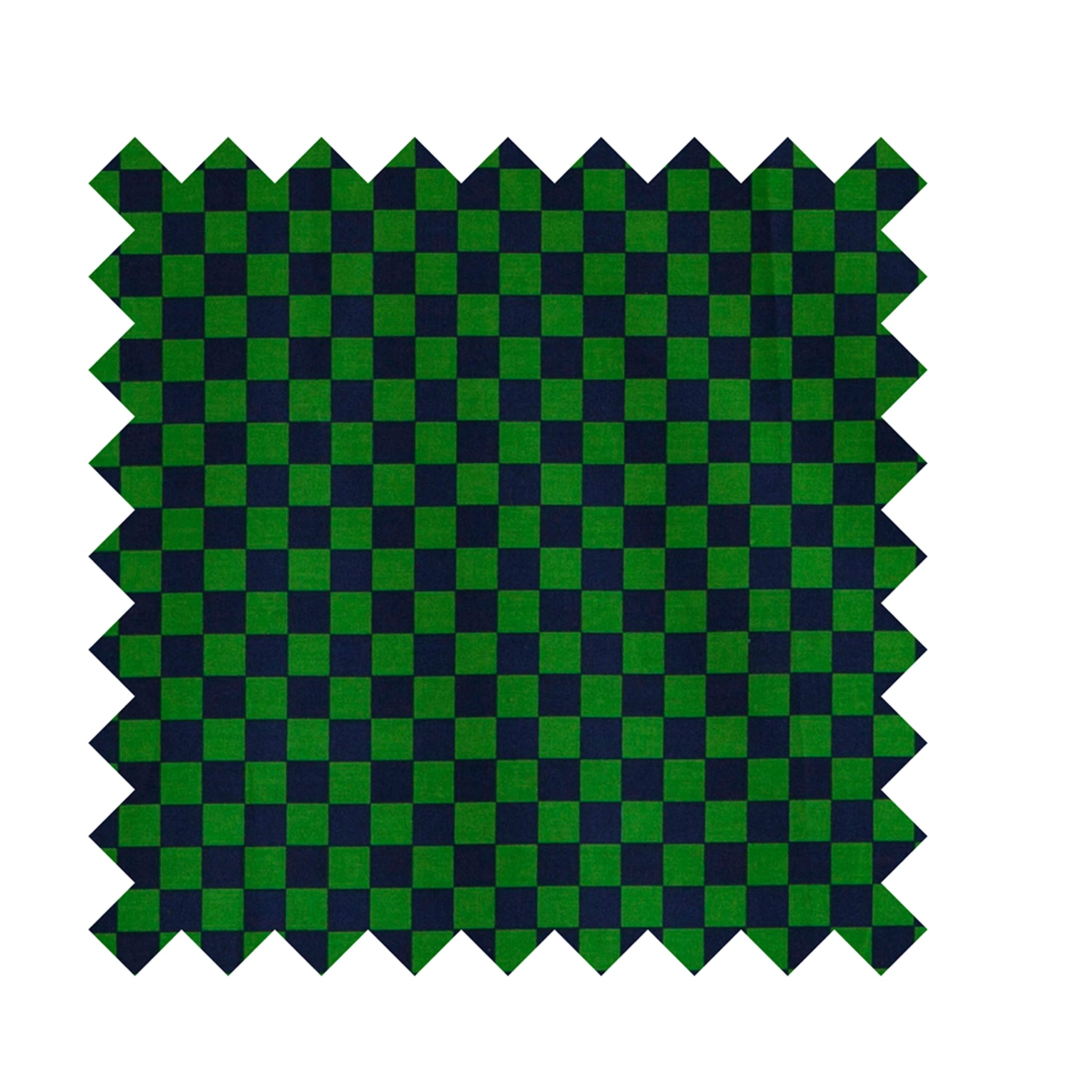 Green and Navy Check Print Fabric - Cotton