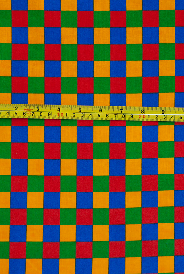 Primary check print fabric