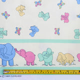 Elephant Pastel Border Print Fabric - Cotton