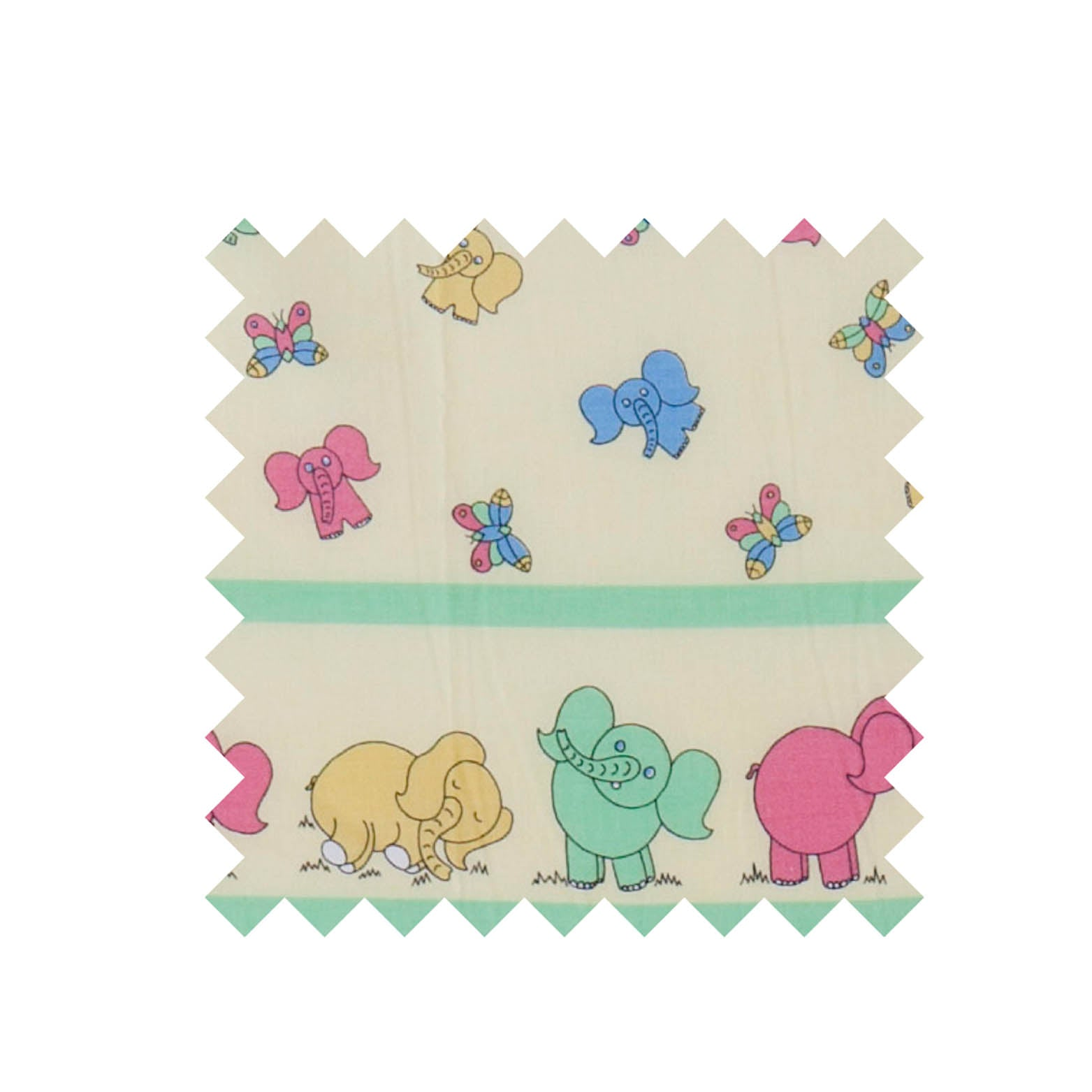Elephant pastel border print  fabric
