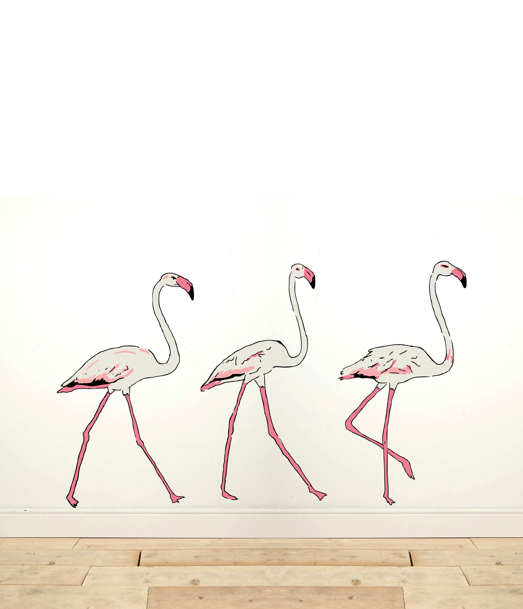 Three Flamingos Wall Sticker - Palava