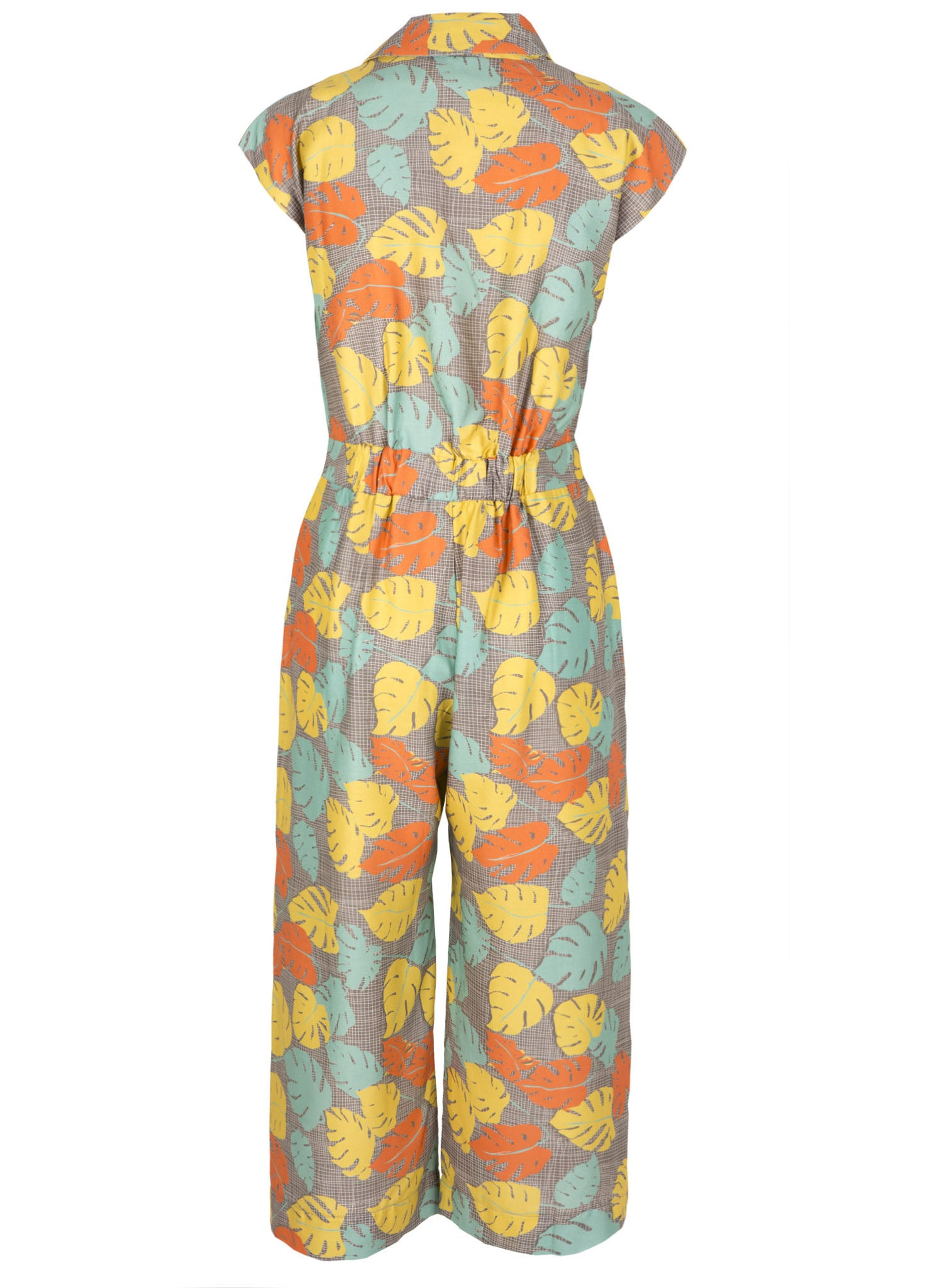 Francesca - Mustard Tropical Leaf Jumpsuit | Tencel