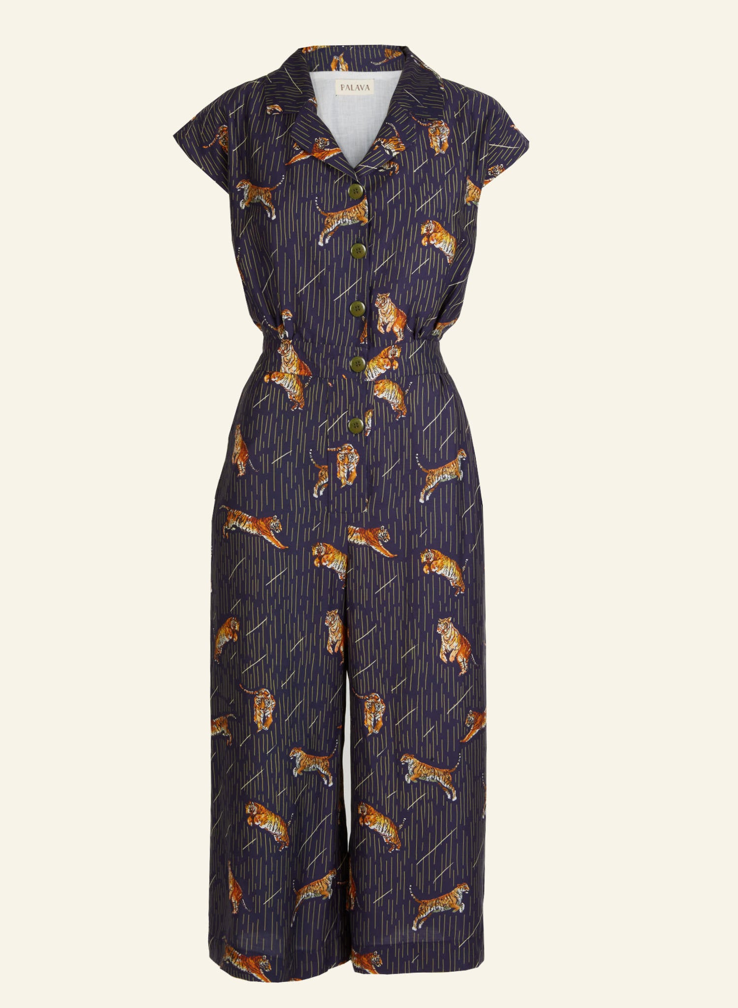 Francesca - Tencel Navy Tiger Jumpsuit