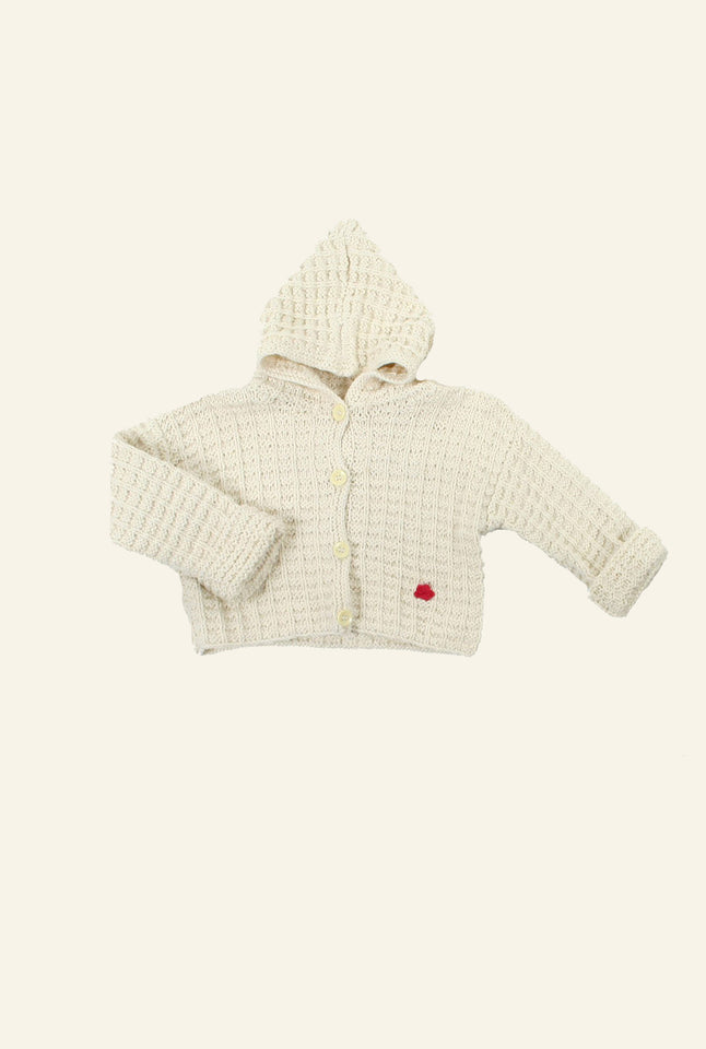 Hand Knitted Hooded Cardigan - Cream