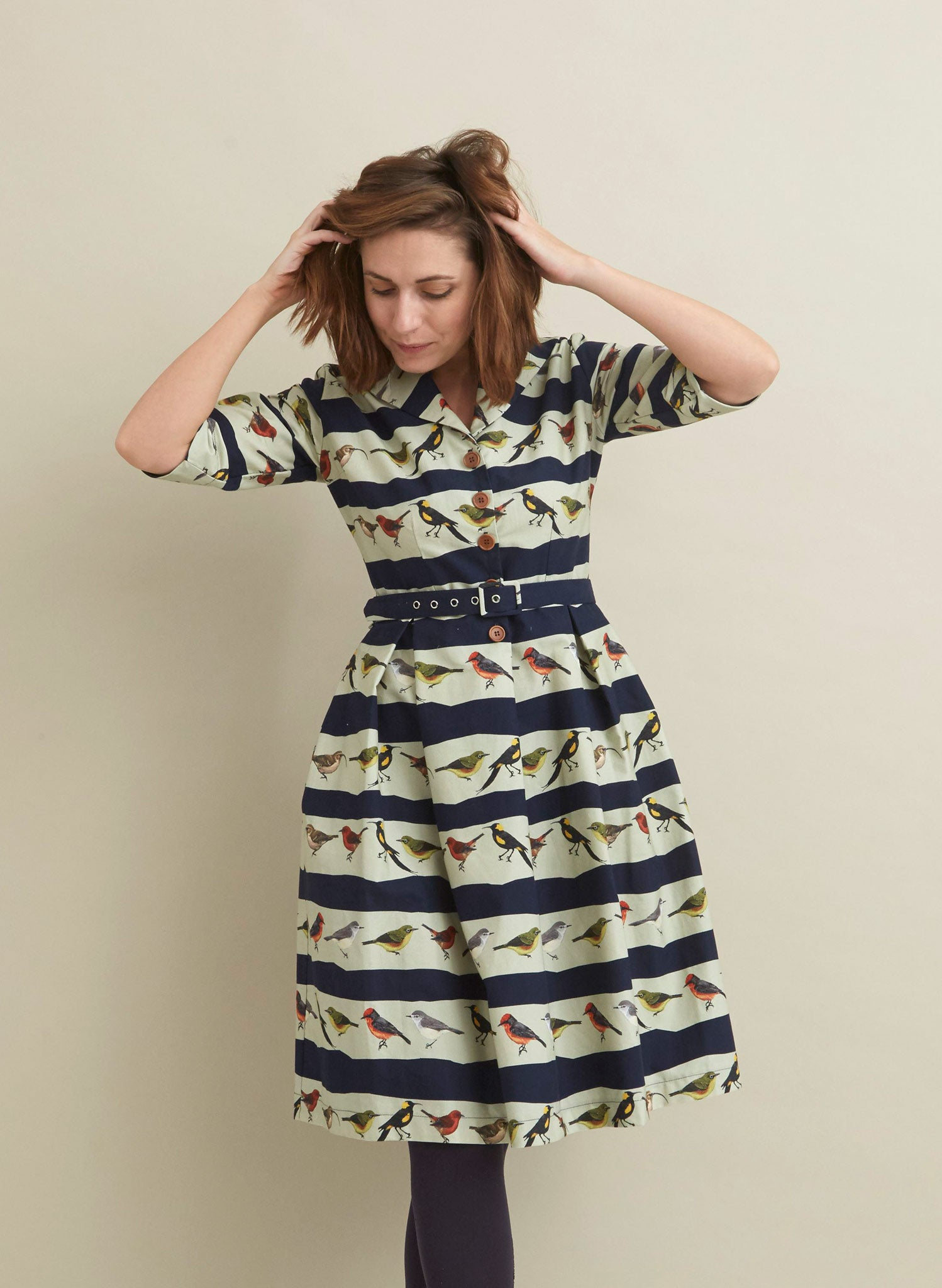 Ida - Navy Lost Birds Dress - 100% Organic Cotton
