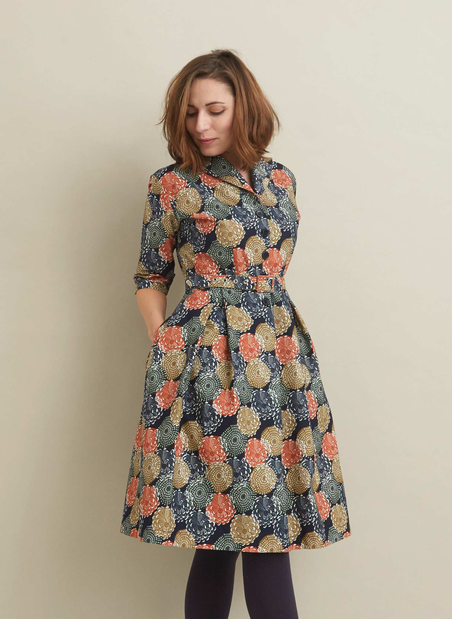 Ida - Navy Pinecones Dress - 100% Organic Cotton