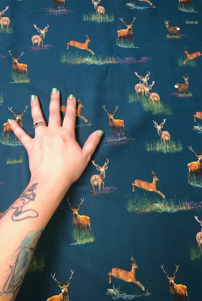 Deer Teal Fabric - Organic Cotton Twill