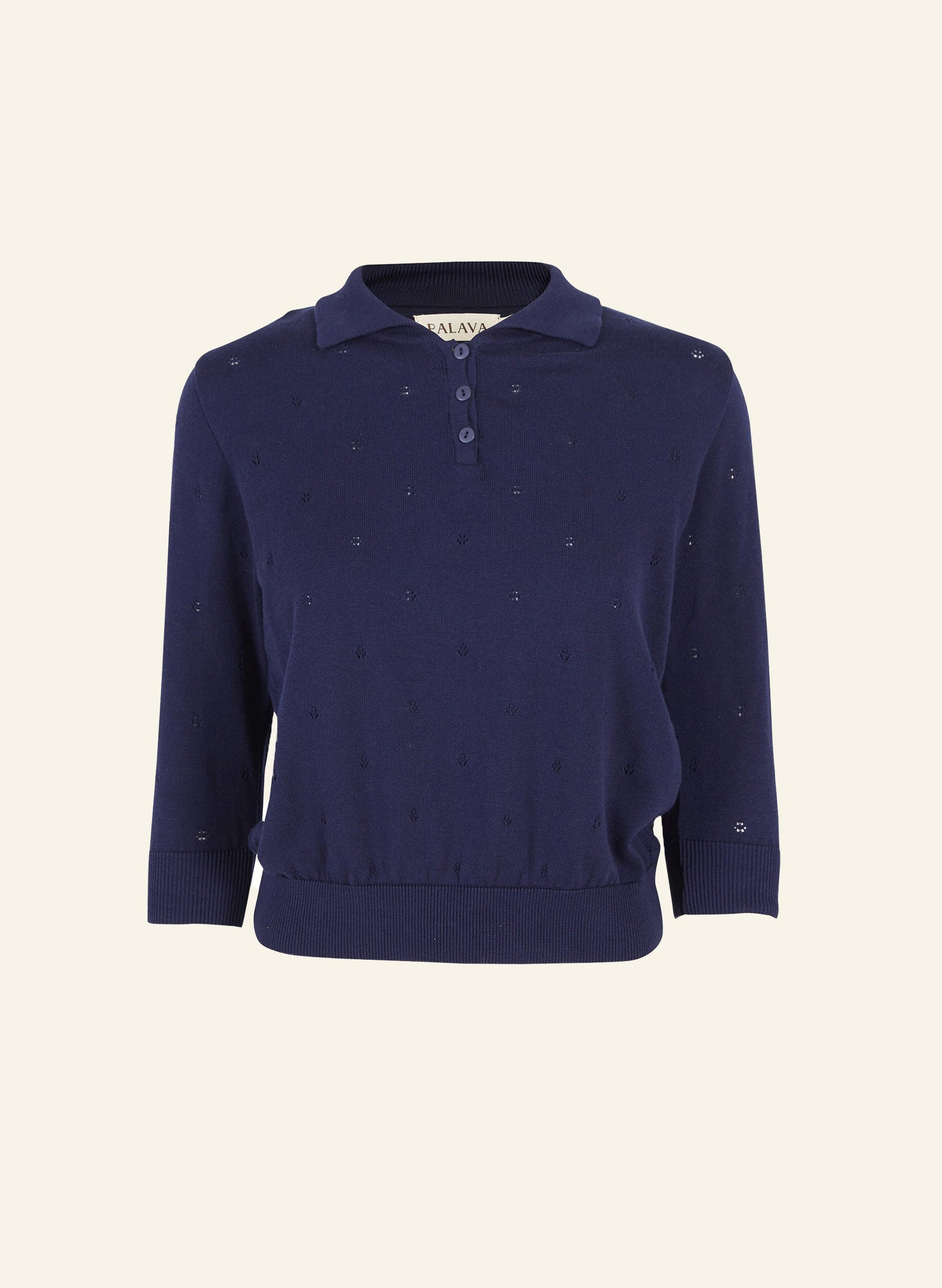 Organic Cotton Knitted Top - Navy