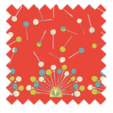 Palava hand illustrated lollipop fabric in orange winter weight cotton sateen