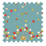 Palava hand illustrated lollipop fabric in teal winter weight cotton sateen