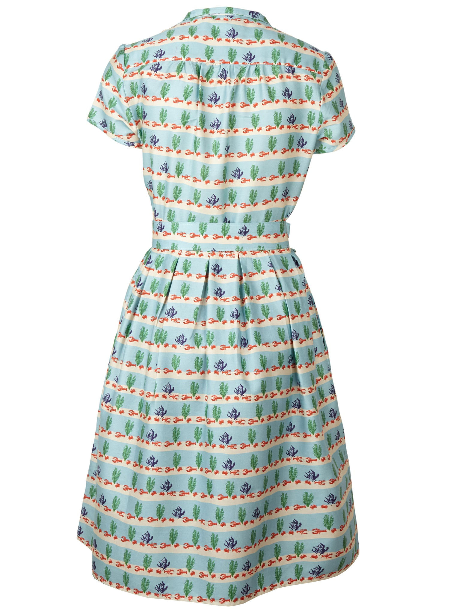 Louise - Lobster Rows Print Vintage-style Shirt Dress for Women