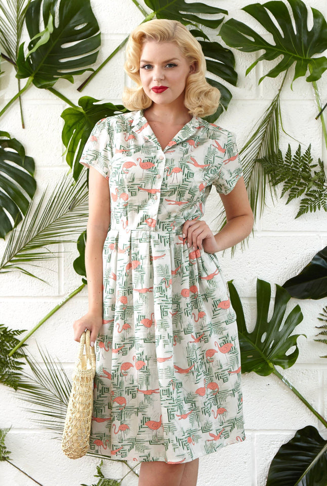 Louise - Vintage Flamingo Print Retro 1950s Shirt Dress for Women