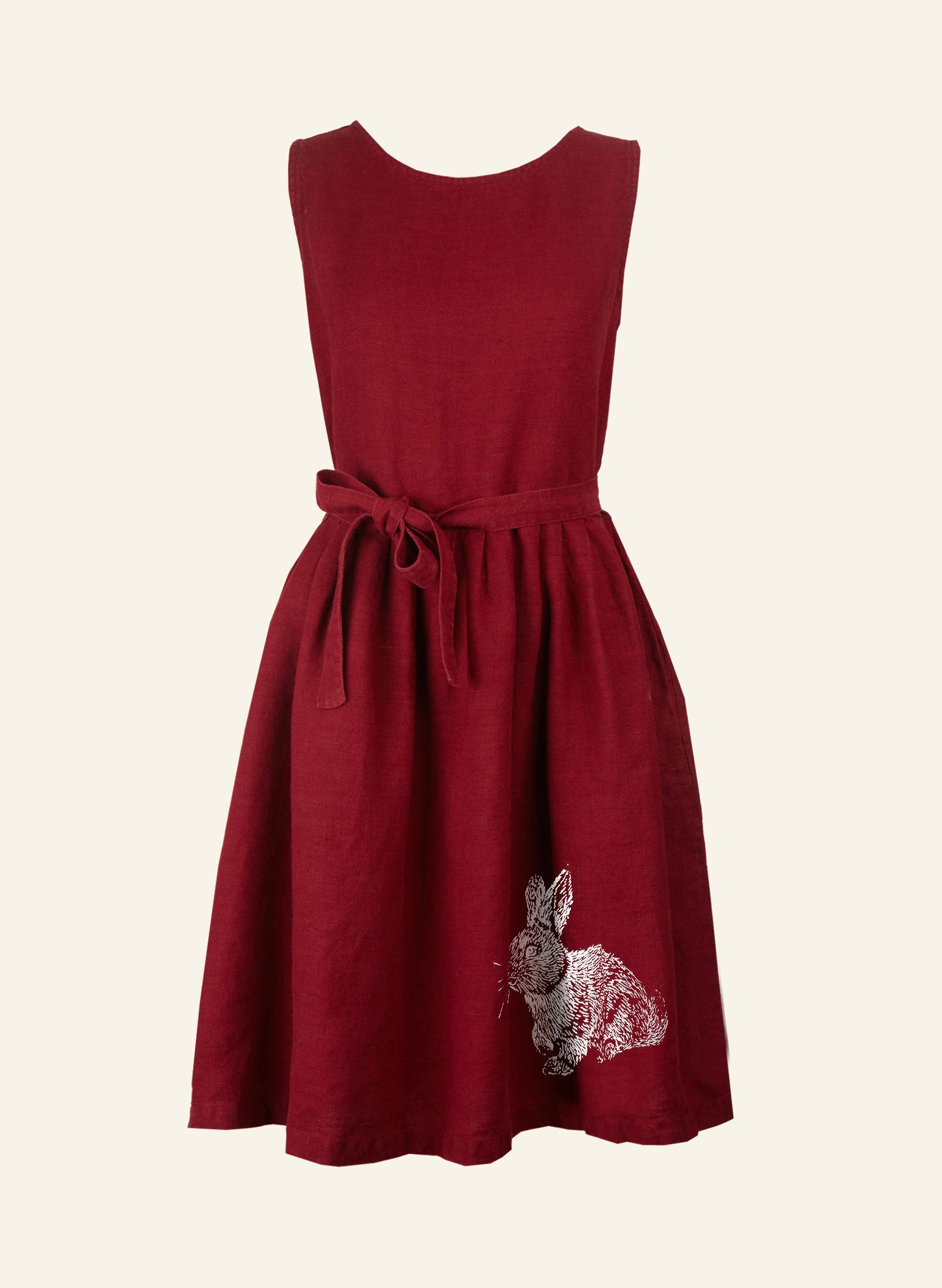 Mabel - Berry Rabbit Dress - 100% Linen
