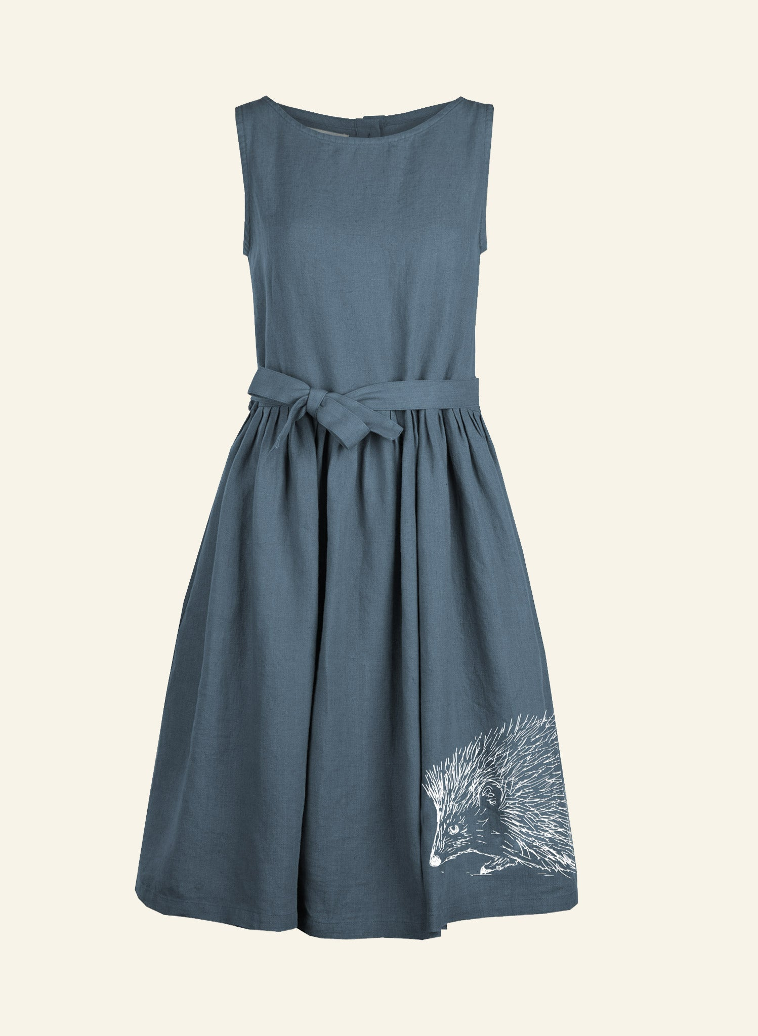 Mabel - Blue Hedgehog Dress - 100% Linen