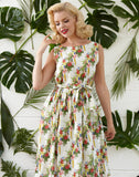Mabel - Parrots Print Floral Linen Summer Dress with Pockets