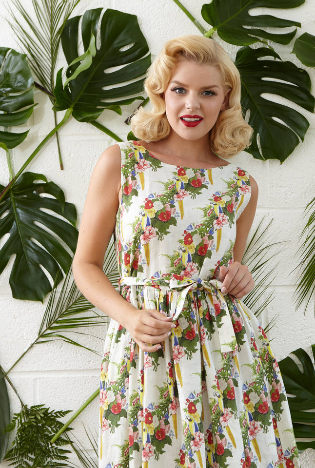 Mabel - Parrots Print Floral Linen Bridesmaid Dress with Pockets