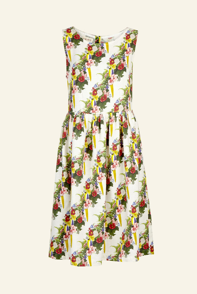 Mabel - Linen Parrots Dress