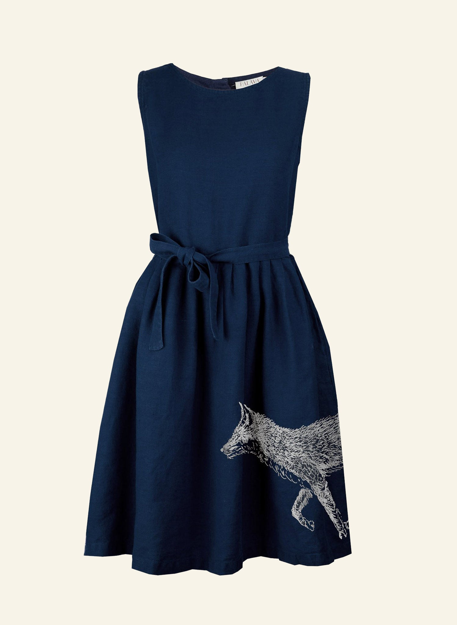 Mabel - Navy Fox Dress - 100% Linen