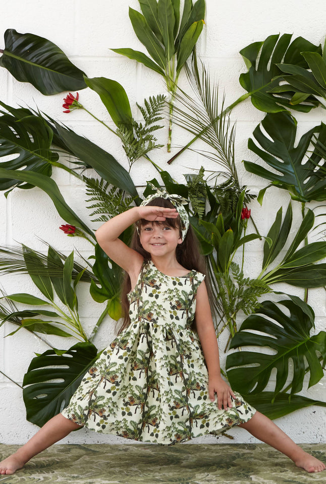Martha - Lounging Leopard Print Summer Party Play Dress for Girls