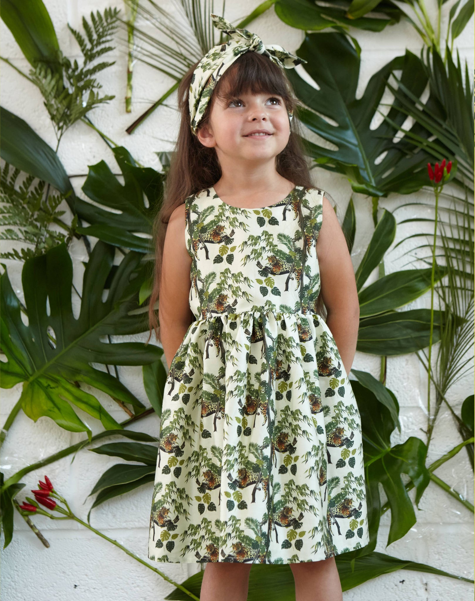 Martha - Lounging Leopard Children's Dress | Organic Cotton