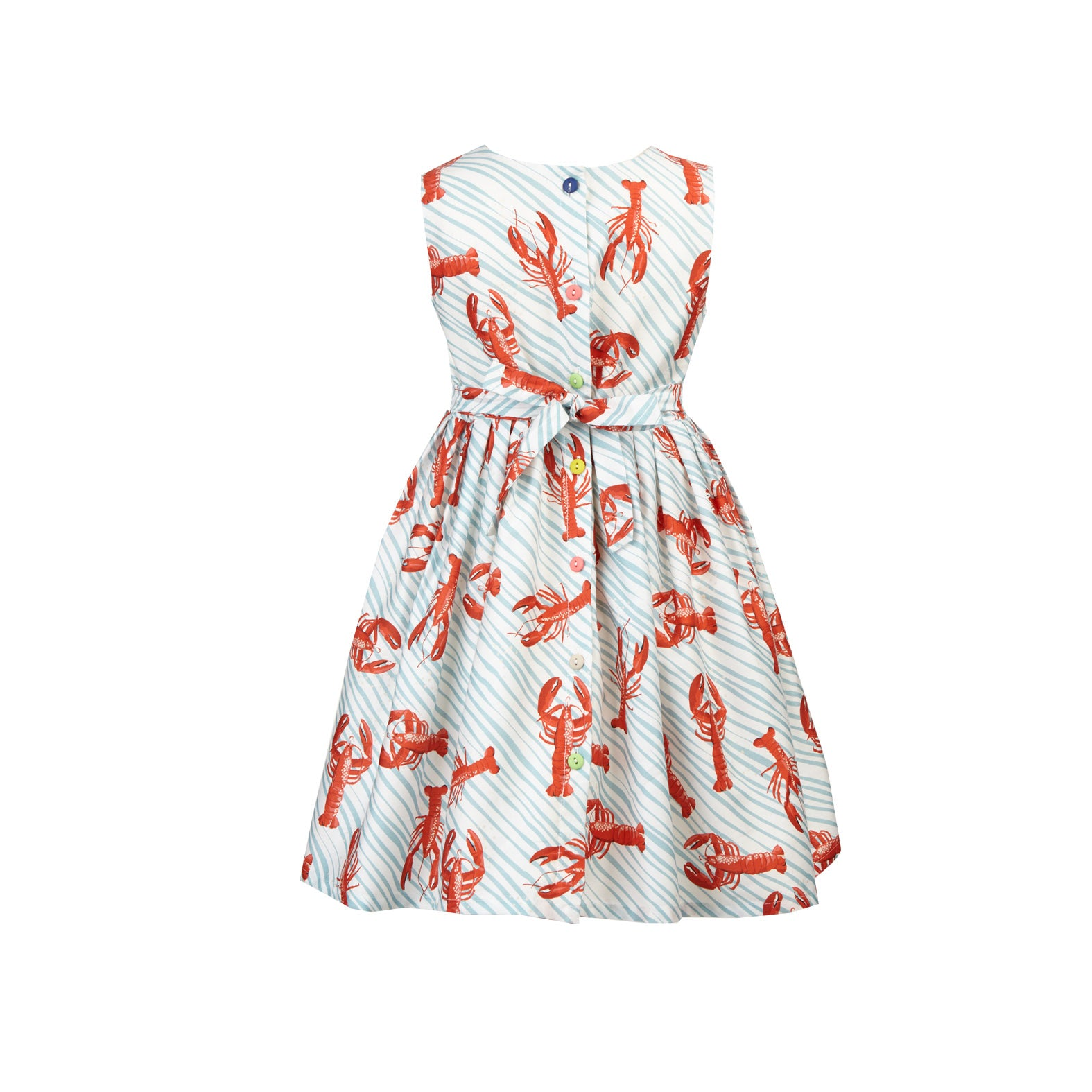 Martha - Light Blue Lobsters Organic Cotton Dress for Girls