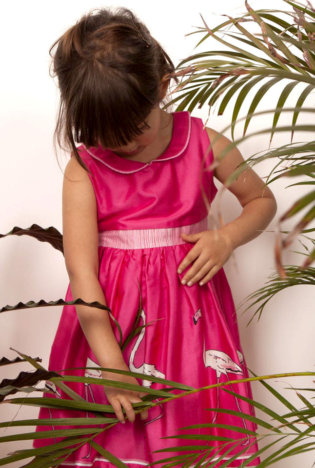 Raspberry Flamingo Print Pink Organic Cotton  Summer Dress for Girls