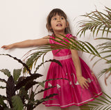 Millie - Raspberry Flamingo Print Bright Pink Party Dress for Girls